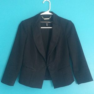 WHBM Cropped black tux jacket blazer career work